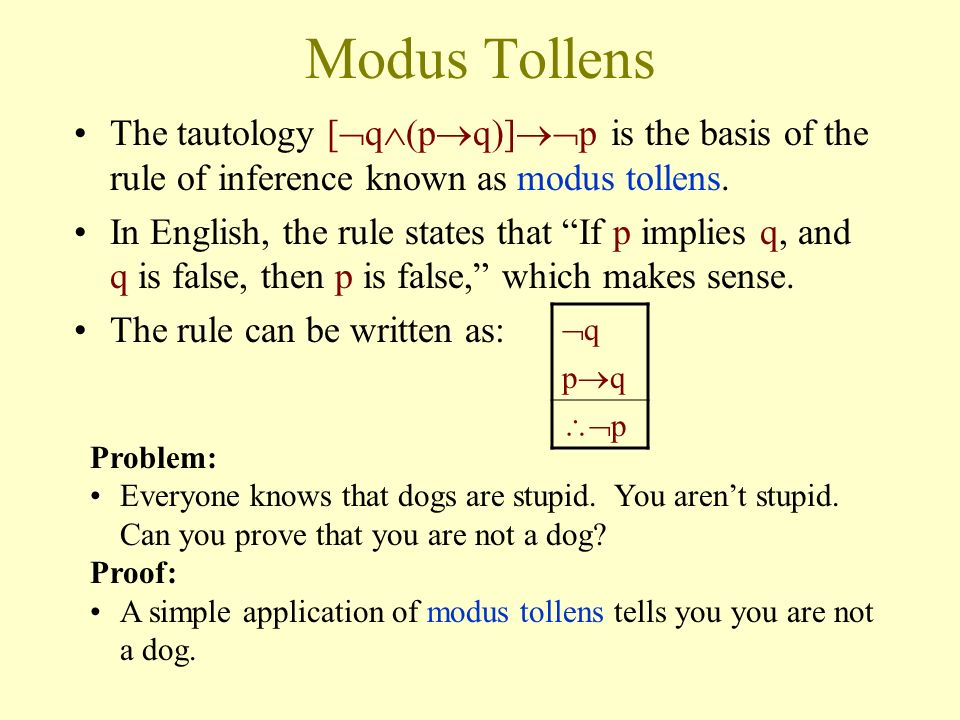 Modus Tollens The tautology [q(pq)]p is the basis of the rule of inference known as modus tollens.
